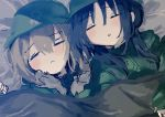 2girls bangs black_hair blanket blonde_hair blush chito_(shoujo_shuumatsu_ryokou) closed_eyes eyebrows_visible_through_hair green_sweater helmet long_hair lying multiple_girls nknk022 on_back open_mouth shoujo_shuumatsu_ryokou sleeping sweater twintails wavy_hair yuuri_(shoujo_shuumatsu_ryokou)