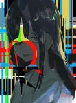 1girl bangs black_hair black_jacket closed_mouth eyebrows_visible_through_hair grey_eyes hair_over_one_eye highres jacket kuronoiparoma long_hair original sidelocks solo tongue tongue_out upper_body