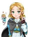 >_< 1boy 1girl aqua_eyes bandaged_arm bandages black_cape blonde_hair blue_shirt blue_tunic blush boots braid brown_footwear brown_gloves cape chibi commentary_request fingerless_gloves forehead gloves hair_ornament hairclip hand_up heart hood hooded_cape juliet_sleeves link long_sleeves looking_at_viewer low_ponytail open_mouth pants pointy_ears princess_zelda puffy_sleeves shadow shirt short_hair short_sleeves simple_background smile square_mouth the_legend_of_zelda the_legend_of_zelda:_breath_of_the_wild the_legend_of_zelda:_breath_of_the_wild_2 triforce tunic upper_body wasabi_(legemd) white_background white_pants