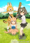 3girls animal_ears bare_shoulders baseball_mitt bear_ears bear_tail belt bike_shorts blonde_hair blue_eyes boots bow bowtie brown_bear_(kemono_friends) brown_eyes brown_hair caracal_(kemono_friends) caracal_ears caracal_tail closed_eyes collared_shirt commentary_request eyebrows_visible_through_hair fur_trim gloves high-waist_skirt kemono_friends kemono_friends3 light_brown_hair logo long_hair multiple_girls official_art outstretched_arms pleated_skirt print_gloves print_neckwear print_skirt serval_(kemono_friends) serval_ears serval_print serval_tail shirt short_hair short_sleeves skirt sleeveless squatting t-shirt tail thigh-highs v-shaped_eyebrows white_hair zettai_ryouiki