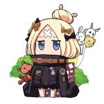 1girl abigail_williams_(fate/grand_order) balloon bangs black_bow black_jacket blonde_hair blue_eyes bow chibi commentary_request covered_mouth crossed_bandaids fate/grand_order fate_(series) fou_(fate/grand_order) full_body hair_bow hair_bun heroic_spirit_traveling_outfit jacket long_hair long_sleeves looking_at_viewer lowres medjed nisekaa-kun orange_bow parted_bangs sleeves_past_fingers sleeves_past_wrists solo standing stuffed_animal stuffed_toy teddy_bear tree white_background