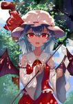 1girl :d ascot bangs bare_shoulders bat_wings blue_hair blue_sky chinese_commentary clenched_hand clouds commentary_request cosplay cowboy_shot day detached_sleeves frilled_shirt_collar frills gohei hair_between_eyes hakurei_reimu hakurei_reimu_(cosplay) hat hat_ribbon highres holding long_sleeves looking_at_viewer mob_cap open_mouth outdoors red_eyes red_ribbon red_skirt remilia_scarlet ribbon ribbon-trimmed_sleeves ribbon_trim short_hair skirt skirt_set sky smile snozaki solo touhou tree white_headwear wide_sleeves wings yellow_neckwear