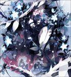2girls chibi daydreamer_(elsword) elsword floral_background g_ieep hug laby_(elsword) multiple_girls nisha_(elsword) nisha_labyrinth_(elsword) plant sleeping smile thorns vines