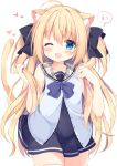 1girl ;d animal_ears bangs bare_arms bare_shoulders black_bow black_dress blonde_hair blue_bow blue_shirt blush bow cat_ears cat_girl cat_tail collarbone commentary_request covered_navel cowboy_shot dress eyebrows_visible_through_hair fang hair_between_eyes hair_bow hand_up holding holding_hair kujou_danbo long_hair looking_at_viewer one_eye_closed open_mouth original plaid plaid_sailor_collar pleated_dress sailor_collar shirt simple_background sleeveless sleeveless_dress sleeveless_shirt smile solo tail tail_raised thigh-highs two_side_up very_long_hair white_background white_legwear white_sailor_collar