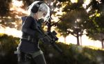 1girl black_legwear blurry blurry_background brown_eyes bullpup check_commentary commentary_request gun handgun headset holding holding_gun holding_weapon holster holstered_weapon hood hoodie legwear_under_shorts original outdoors p90 pantyhose pistol shorts solo submachine_gun suppressor weapon white_hair ylmi