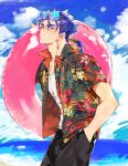 1boy beach blue_hair commentary cu_chulainn_(fate/grand_order) day earrings eyewear_on_head fate_(series) floral_print from_side hand_in_pocket hand_up hawaiian_shirt holding holding_innertube innertube jewelry lancer long_hair looking_at_viewer male_focus ocean open_mouth pink_innertube ponytail red_eyes shirt solo standing sunglasses tatsuta_age upper_body