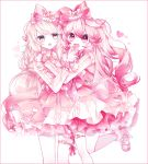 blush dress elsword eve_(elsword) eyebrows_visible_through_hair fang fang_out feeding g_ieep heart hug idol laby_(elsword) pink_dress ribbon smile
