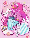 1girl adventure_time bangs beamed_eighth_notes blush cat closed_eyes clouds crisalys eighth_note heart highres lightning_bolt long_hair long_sleeves musical_note open_mouth pink_hair pink_skin ponytail princess_bonnibel_bubblegum puffy_sleeves shoes skirt socks solo striped tiara white_footwear white_skirt winged_footwear