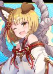 1girl ;d animal_ear_fluff animal_ears bangs blonde_hair blue_background blush braid brown_eyes commentary_request detached_sleeves dog_ears dress erune eyebrows_visible_through_hair fang granblue_fantasy hair_ornament highres long_sleeves looking_at_viewer one_eye_closed open_mouth pilokey short_hair sleeveless sleeveless_dress smile solo thick_eyebrows upper_body vajra_(granblue_fantasy) white_dress white_sleeves