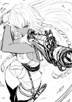 1girl action ahoge aiming boots braid breasts dual_wielding fate/grand_order fate_(series) finger_on_trigger gloves gun highres holding holding_gun holding_sword holding_weapon imizu_(nitro_unknown) lakshmibai_(fate/grand_order) long_braid long_hair medium_breasts monochrome no_bra scabbard serious sheath shell_casing sideboob sketch solo sword thigh-highs thigh_boots twin_braids weapon