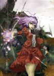 1girl alternate_costume bat bat_wings chain fang lavender_hair remilia_scarlet ross_(clumzero) solo touhou wings yellow_eyes