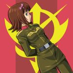 (^_^)_(pixiv198858) belt brown_eyes brown_hair cosplay flag green_eyes gundam idolmaster military military_uniform muhi11234 pantyhose short_hair skirt uniform zeon