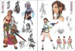 alternate_costume breasts chai_xianghua cleavage concept_art geta hair_tubes hat highres scan setsuka soul_calibur soul_calibur_iv soulcalibur soulcalibur_iv sword top_hat weapon xianghua