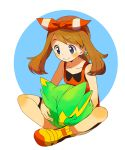 1girl bangs bike_shorts black_shorts blue_eyes bow brown_hair closed_eyes closed_mouth collarbone electrike eyebrows_visible_through_hair floating_hair full_body gen_3_pokemon hair_bow hairband haruka_(pokemon) long_hair pokemon pokemon_(creature) pokemon_(game) pokemon_oras popcorn_91 red_hairband red_shirt shirt short_shorts shorts shorts_under_shorts sitting sleeping sleeveless sleeveless_shirt striped striped_bow swept_bangs twintails white_background white_shorts yellow_footwear