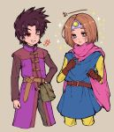 2boys absurdres black_hair blue_eyes brown_hair cape circlet cosplay costume_switch dragon_quest dragon_quest_iii dragon_quest_xi earrings gloves hero_(dq11) highres jewelry long_hair male_focus multiple_boys open_mouth roto roto_(cosplay) short_hair smile user_rgzs8327