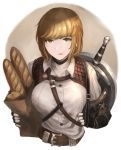 1girl absurdres armor belt blonde_hair borrowed_character bread breasts brown_eyes face_licking fingerless_gloves food gauntlets gloves highres ito_(silva) large_breasts leather_belt licking original shirt shortsword_(seojh1029) solo sword tagme weapon white_shirt