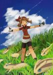 1girl :d bike_shorts black_legwear black_shorts blue_sky brown_hair closed_eyes clouds day floating_hair gloves haruka_(pokemon) jacket linoone miniskirt open_mouth outstretched_arms pokemon pokemon_(game) pokemon_oras popcorn_91 red_bandana red_jacket short_shorts short_sleeves shorts shorts_under_skirt skirt sky smile solo