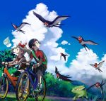1boy 1girl bicycle bike_shorts black_pants black_shorts blue_sky bow brown_eyes brown_hair castform clouds collarbone day electrike gen_3_pokemon ground_vehicle hair_bow hairband haruka_(pokemon) hat jacket looking_back outdoors pants pokemon pokemon_(creature) pokemon_(game) pokemon_rse popcorn_91 red_hairband red_jacket red_shirt riding shirt short_shorts short_sleeves shorts shorts_under_shorts sky sleeveless sleeveless_shirt striped striped_bow taillow white_headwear white_shorts yuuki_(pokemon)