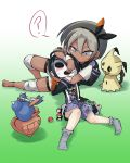 1boy 1girl ? barefoot black_hair blush boy_and_girl dark_skin grey_eyes grey_hair headlock hitmontop lying mask mimikyu onion_(pokemon) poke_ball_(generic) pokemon pokemon_(game) pokemon_swsh saitou_(pokemon) shorts sweatdrop user_tfcc4254 wrestling