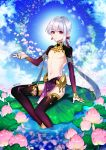 1boy asymmetrical_bangs bangs bare_chest bare_shoulders chest child earrings fate/grand_order fate_(series) flower genderswap genderswap_(ftm) jewelry kama_(fate/grand_order) lily_pad long_hair looking_at_viewer lotus low-tied_long_hair male_focus no_nipples outstretched_arm pelvic_curtain pin1004 red_eyes shrug_(clothing) sitting solo thigh-highs twitter_username water