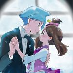 1boy 1girl black_jacket black_neckwear blue_eyes blue_hair bow brown_eyes brown_hair collared_shirt earrings eye_contact floating_hair from_side hair_bow hair_ribbon haruka_(pokemon) holding_hands interlocked_fingers jacket jewelry long_hair long_sleeves looking_at_another one_side_up pink_bow pokemon pokemon_(game) pokemon_rse popcorn_91 purple_ribbon ribbon shirt tsuwabuki_daigo upper_body white_shirt wing_collar yellow_ribbon