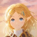 1girl blonde_hair blue_eyes blush braid cape clouds commentary hair_ornament hairclip hood hood_down hooded_cape light_particles looking_at_viewer outdoors pointy_ears portrait princess_zelda shangguan_feiying shirt short_hair smile solo sparkle sunset the_legend_of_zelda the_legend_of_zelda:_breath_of_the_wild the_legend_of_zelda:_breath_of_the_wild_2 white_shirt