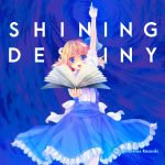 1girl album_cover alice_margatroid alice_margatroid_(pc-98) blonde_hair blue_dress blue_eyes book buttons maki_(seventh_heaven_maxion) open_mouth short_hair solo touhou touhou_(pc-98)