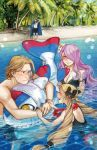 2boys 2girls beach bikini blonde_hair buoy camilla_(fire_emblem_if) closed_eyes elise_(fire_emblem_if) family female_swimwear fire_emblem fire_emblem_heroes fire_emblem_if flower flower_necklace hair_flower hair_ornament hair_over_one_eye intelligent_systems jewelry leon_(fire_emblem_if) lilith_(fire_emblem_if) male_swimwear marks_(fire_emblem_if) naked_towel navel necklace nintendo ocean one-piece_swimsuit partially_submerged plaemon purple_hair smile swim_trunks swimming swimsuit towel volleyball water wet