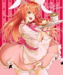 1girl :d animal_ears apron ataka_takeru brown_hair cowboy_shot floating_hair fortune_tellers_academy frilled_skirt frills hair_between_eyes hat holding holding_plate long_hair long_sleeves looking_at_viewer open_mouth pink_skirt plate print_sleeves rabbit_ears red_background red_eyes shiny shiny_hair shirt skirt smile solo standing star starry_background striped striped_background thigh-highs very_long_hair white_apron white_headwear white_legwear white_shirt zettai_ryouiki
