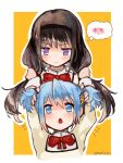 2girls :o akemi_homura bangs black_hair black_headwear blue_eyes blue_hair blush bow bowtie eyebrows_visible_through_hair hair_ornament hairband hairclip highres kaname_madoka long_hair long_sleeves looking_at_another mahou_shoujo_madoka_magica miki_sayaka mitakihara_school_uniform multiple_girls mzk0526 notice_lines open_mouth pink_hair playing_with_another's_hair ribbon school_uniform short_hair simple_background smile thought_bubble twintails twitter_username violet_eyes white_background yellow_background