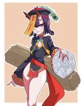 absurdres akitokage01 beret bob_cut chinese_clothes chinese_text eyeshadow fate/grand_order fate_(series) hair_ornament hair_rings hair_stick hat highres horns jiangshi makeup ofuda oni_horns pale_skin purple_hair short_eyebrows short_hair shuten_douji_(fate/grand_order) tate_eboshi violet_eyes zombie