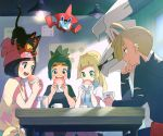 2boys 2girls :d black_hair black_shirt blonde_hair blue_eyes character_request closed_mouth earrings eating food gladio_(pokemon) green_eyes hau_(pokemon) head_rest holding holding_food indoors jewelry lillie_(pokemon) litten long_hair mizuki_(pokemon) multiple_boys multiple_girls open_mouth pink_headwear pokemon pokemon_(game) pokemon_on_head pokemon_sm popcorn_91 print_shirt rotom shirt short_hair short_sleeves smile table tied_shirt torn_clothes torn_shirt white_shirt yellow_shirt
