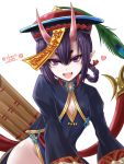 1girl :d alternate_costume alternate_hairstyle braid chinese_clothes cleavage_cutout fate/grand_order fate_(series) flat_chest hat haura_akitoshi heart horns jiangshi ofuda oni open_mouth short_eyebrows shuten_douji_(fate/grand_order) simple_background smile solo twitter_username white_background