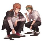 2boys absurdres brown_eyes character_request check_character cigarette facepaint full_body green_headband grey_footwear headband highres jacket_on_shoulders jewelry looking_at_viewer male_focus multiple_boys necklace ponytail red_footwear red_headband samuraisamurai sanada_yukimura_(sengoku_basara) sarutobi_sasuke sengoku_basara serious shirt shoes sideburns simple_background sneakers squatting white_background white_shirt