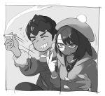 1boy 1girl anger_vein boy_and_girl chillarism cigarette closed_eyes dark_skin female_protagonist_(pokemon_swsh) greyscale groping hat hop_(pokemon) monochrome pokemon pokemon_(game) pokemon_swsh smoke swipe