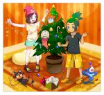 1boy 1girl :d black_shirt brown_eyes brown_hair christmas_tree collarbone gen_7_pokemon green_hair green_shorts hair_ornament hau_(pokemon) high_ponytail litten mizuki_(pokemon) open_mouth outstretched_arms pink_headwear pokemon pokemon_(creature) pokemon_(game) pokemon_sm popcorn_91 popplio print_shirt print_shorts rotom rowlet shirt short_hair short_shorts short_sleeves shorts smile striped striped_background tied_shirt yellow_shirt yellow_shorts