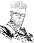 1boy beard closed_mouth commentary facial_hair fate/grand_order fate_(series) glasses greyscale highres imizu_(nitro_unknown) looking_at_viewer male_focus monochrome simple_background sketch smile solo white_background william_tell_(fate/grand_order)