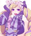 1girl :d ataka_takeru bangs blonde_hair elise_(fire_emblem_if) fire_emblem fire_emblem_if flower gloves hair_flower hair_ornament head_wreath long_hair looking_at_viewer multicolored_hair open_mouth pink_neckwear purple_capelet purple_gloves purple_hair smile solo swept_bangs two-tone_hair upper_body very_long_hair violet_eyes white_flower
