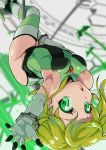 1girl aiai_(jsm) akatsuki_kirika arched_back ass bare_shoulders blonde_hair breasts commentary_request gloves green_eyes green_leotard highres leotard looking_at_viewer medium_breasts pole pole_dancing scythe senki_zesshou_symphogear shiny shiny_clothes shiny_hair shiny_skin short_hair skin_tight solo striped striped_legwear thigh-highs white_gloves