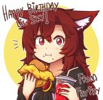 1girl :t animal_ear_fluff animal_ears bangs blush brooch brown_hair circle collarbone commentary_request cup disposable_cup dress drinking_straw english_commentary eyebrows_visible_through_hair eyelashes food food_on_face hair_between_eyes hamburger happy_birthday holding holding_cup holding_food imaizumi_kagerou jewelry long_hair long_sleeves looking_at_viewer mcdonald's nail_polish outline red_eyes red_nails simple_background smile solo touhou white_background white_dress white_outline wolf_ears wool_(miwol)