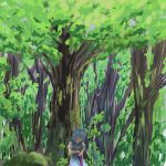 1girl alternate_sleeve_length blue_hair blue_skirt blue_vest closed_eyes closed_umbrella commentary_request dappled_sunlight day forest head_tilt highres holding holding_umbrella karakasa_obake nature outdoors puffy_short_sleeves puffy_sleeves scenery shirt short_hair short_sleeves skirt solo standing sunlight tatara_kogasa touhou tree umbrella under_tree vest white_shirt yuuyake
