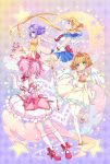 4girls angel_wings ankle_bow argyle argyle_background back_bow bishoujo_senshi_sailor_moon blonde_hair blue_sailor_collar blue_skirt bow brown_hair bubble_skirt cardcaptor_sakura choker circlet creamy_mami crescent double_bun dress earrings elbow_gloves expressionless frills gloves green_eyes hair_bow hair_intakes hair_ornament holding holding_wand hoshi_no_tsue inma jewelry kaname_madoka kinomoto_sakura kneehighs long_hair looking_at_viewer magical_girl mahou_no_tenshi_creamy_mami mahou_shoujo_madoka_magica mary_janes morisawa_yuu multicolored multicolored_background multiple_girls pantyhose pink_bow pink_hair pleated_skirt profile puffy_sleeves purple_hair red_bow red_footwear red_neckwear ribbon_choker sailor_collar sailor_moon sailor_senshi_uniform shoes short_hair skirt standing standing_on_one_leg star star_hair_ornament star_in_eye symbol_in_eye tsukino_usagi twintails violet_eyes wand white_dress white_gloves white_legwear white_skirt white_wings wings