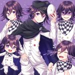 black_hair black_headwear cape checkered checkered_scarf chibi clenched_hands commentary_request crying danganronpa evil_grin evil_smile eyebrows_visible_through_hair face_mask grin hair_between_eyes hat heart highres holding holding_mask looking_at_viewer male_focus mask mask_removed multiple_views nabekokoa new_danganronpa_v3 ouma_kokichi purple_hair scarf shaded_face simple_background smile straitjacket symbol-shaped_pupils tears teeth violet_eyes