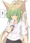 1girl ahoge animal_ear_fluff animal_ears atalanta_(fate) bare_shoulders blue_neckwear blush breasts cat_ears fate/apocrypha fate/grand_order fate_(series) green_eyes green_hair long_hair medium_breasts multicolored_hair nahu sleeves_rolled_up solo