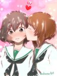 2girls akiyama_yukari bangs black_neckwear blouse brown_eyes brown_hair cheek_kiss closed_eyes commentary eyebrows_visible_through_hair girls_und_panzer heart highres katsuragi_(webmaster909) kiss leaning_forward light_particles long_sleeves messy_hair multicolored multicolored_background multiple_girls neckerchief nishizumi_miho ooarai_school_uniform school_uniform serafuku shiny shiny_hair short_hair twitter_username upper_body white_blouse yuri