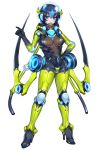 1girl araquanid armor blue_hair bodysuit dark_blue_hair diving_helmet earphones extra_arms full_body hair_between_eyes hand_on_hip helmet high_heels katagiri_hachigou looking_at_viewer multicolored_hair personification pokemon pokemon_(game) pokemon_sm shiny shiny_clothes short_hair solo two-tone_hair white_background