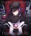 1boy artist_name black_footwear black_hair black_headwear blue_flower cape chair character_name checkered checkered_scarf commentary_request danganronpa dated explosive eyebrows_visible_through_hair eyes_visible_through_hat flower from_above grenade happy_birthday hat highres holding jacket long_sleeves looking_at_viewer male_focus nanin new_danganronpa_v3 ouma_kokichi pants purple_hair scarf short_hair sitting smile solo straitjacket torn_clothes twitter_username umbrella violet_eyes