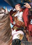 1boy beard belt blue_eyes brown_hair cape epaulettes facial_hair fate/grand_order fate_(series) horse horseback_riding kienbiu large_hat long_sleeves looking_at_viewer male_focus military military_uniform napoleon_bonaparte_(fate/grand_order) neck night night_sky pants riding sash sky solo uniform