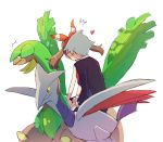 1boy 1girl black_jacket black_shorts blush bow brown_hair floating_hair hair_bow hairband haruka_(pokemon) heart jacket kiss long_hair long_sleeves pokemon pokemon_(game) pokemon_rse popcorn_91 red_hairband riding short_shorts shorts silver_hair simple_background skarmory sketch striped striped_bow tropius tsuwabuki_daigo white_background