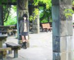 1girl bench black_hair black_legwear closed_mouth day grey_eyes idolmaster idolmaster_shiny_colors kazano_hiori kneehighs looking_at_viewer low_twintails medium_hair necktie outdoors sakeharasu scenery short_twintails solo standing tree twintails uniform